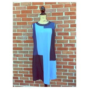 Calvin Klein Blue Color Block Chambray Shift Dress